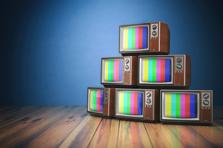 tv sets: Heap of retro TV sets with no signal. Communication, media and television concept.. 3d illustration Stock Photo