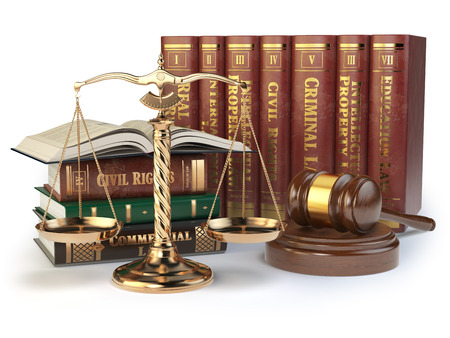 mallet: Gold scales of justice, gavel and books with differents field of law isolated on white background. Justice concept. 3d illustration