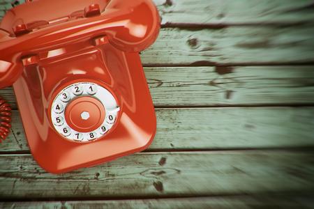 Vintage retro telephone on the wood background. 3d illustration Stock Photo