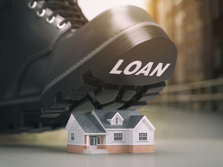 borrowing money: Mortgage house loan crisis concept. Foreclosure and repossession problems. House and boot with loan. 3d illustration