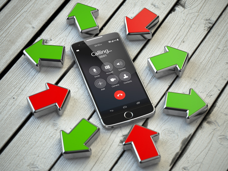 phone calls: Incoming and outgoing calls, syncronization. Mobile phone and arrows. Communication technology concept. 3d illustration Stock Photo