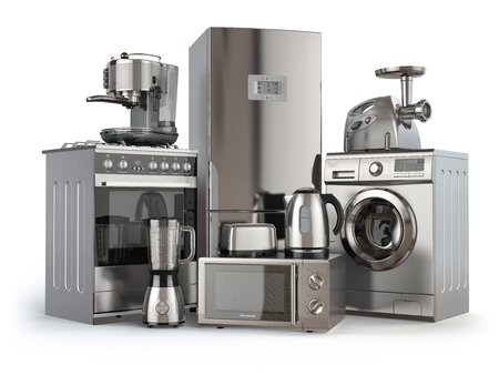 Electrodomésticos. cocina de gas, nevera, microondas y lavadora, cafetera tostadora licuadora, ginder carne y hervidor de agua. 3d ilustración