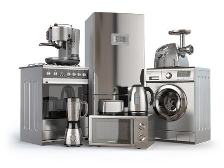 Huishoudelijke apparaten. Gasfornuis, koelkast, magnetron en wasmachine, blender broodrooster koffiezetapparaat, vleesmolen en waterkoker. 3D illustratie