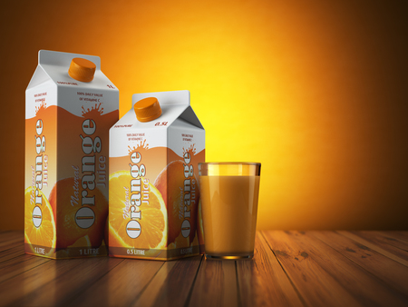 Orange juice carton cardboard box pack with glass on orange background. 3d illustartion