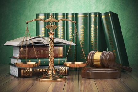 Gold schalen van rechtvaardigheid, hamer en boeken met verschillende gebied van het recht. Justitie concept. 3d illustratie