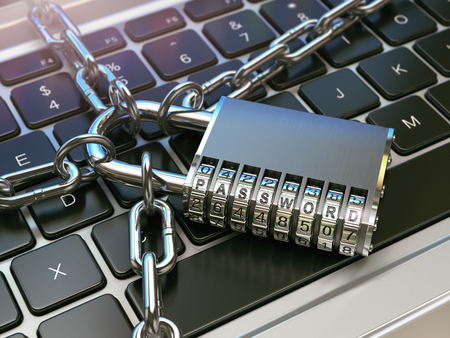 security lock: Password. Computer security or safety concept. Laptop keyboard with lock and chain. 3d illustration