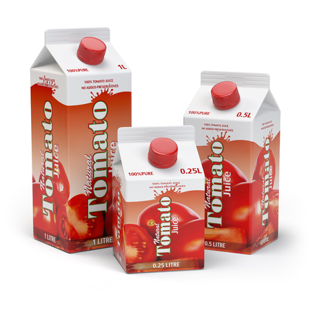 Tomato juice carton cardboard box pack isolated on white background. 3d illustartion Stock Photo