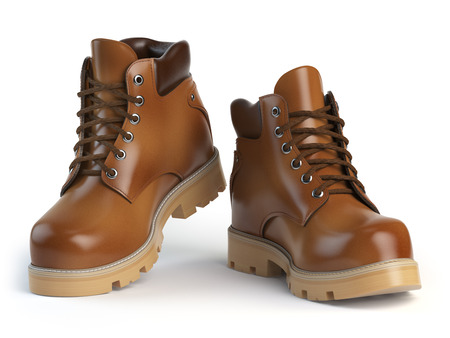 foot soldier: Brown man´s  boots isolated on white background. 3d illustration Stock Photo
