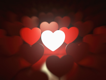 Valentines day background. Love concept. One glowing heart in a row of red hearts. 3d illustration