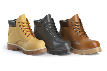 shoe store: Different winter boots on a white background. Shoe shop or marketing concept. 3d illustration
