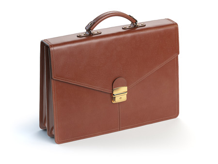 brown leather: Brown leather briefcase isolated on the white background. 3d illustration