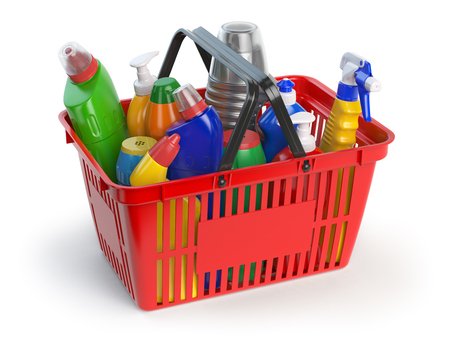 cleaning cloth: Detergent bottles and cleaning supplies in shopping basket  isolated on white background. 3d illustration