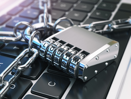 Login. Computer security or safety concept. Laptop keyboard with lock and chain. 3d illustration