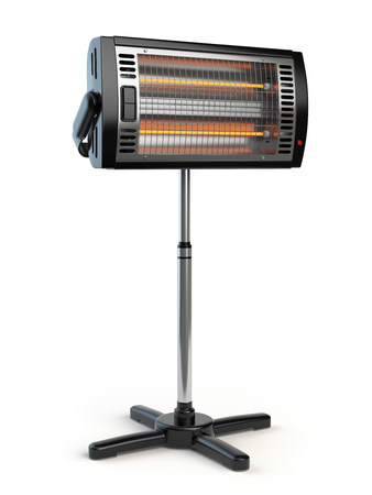 warmness: Halogen or infrared heater isolated on white background. 3d illustration