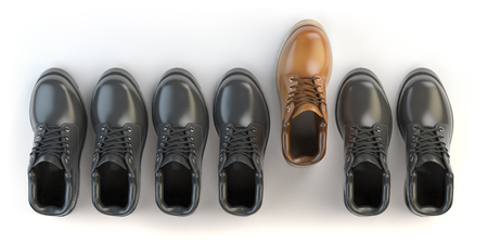 distinct: One unique brown boot in the row of black boots. Marketing concept. Choosing the style, Think different. 3d illustration