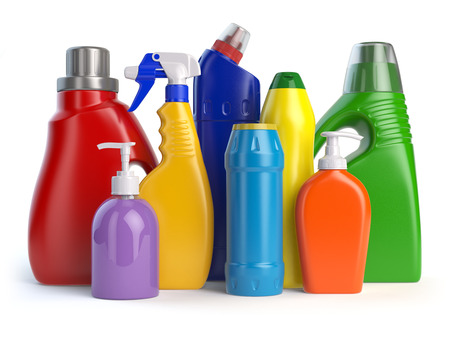 Detergent bottles or containers. Cleaning supplies isolated on white background. 3d illustration