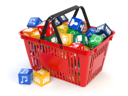 Application software icons  boxes in the shopping basket  isolated on white background. Store of apps concept. 3d illustration