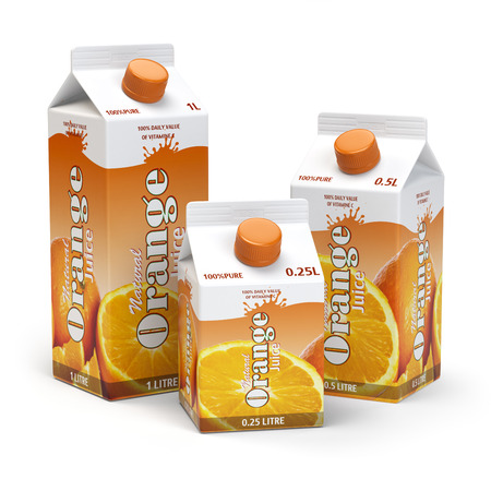 Orange juice carton cardboard box pack isolated on white background. 3d illustartion
