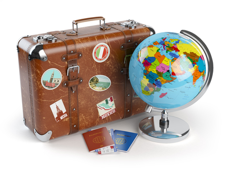old suitcase: Travel or tourism concept. Old suitcase with stickers, globe and passports with boarding pass tickets isolated on white background. 3d illustration
