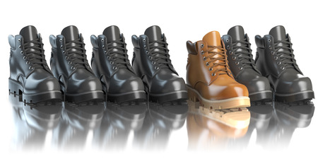 incompatible: One unique brown boot in the row of black boots. Marketing concept. Choosing the style, Think different. 3d illustration