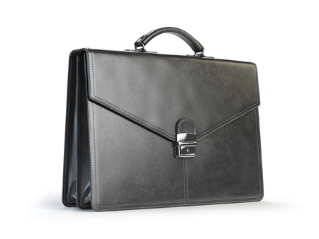 case: Black leather briefcase isolated on the white background. 3d illustration