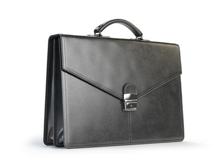valise voyage: serviette en cuir noir isolé sur le fond blanc. 3d illustration