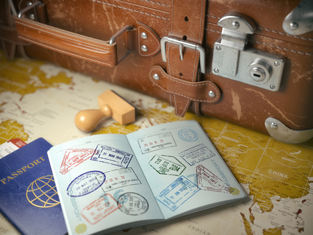 old suitcase: Travel or turism concept.  Old  suitcase  with opened passport with visa stamps. 3d illustration