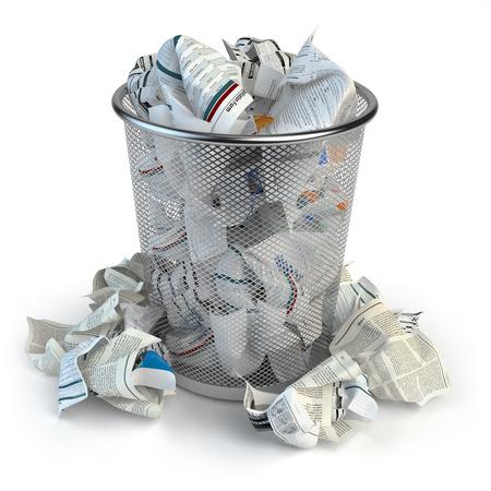 Prullenbak vol afvalpapier. Wastepaper mand geïsoleerd op een witte achtergrond. 3d illustratie Stockfoto