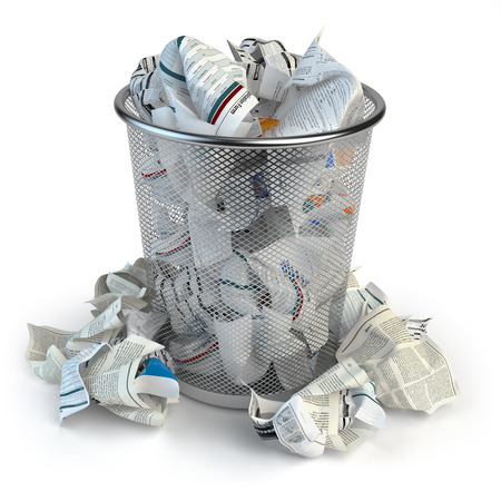 Trash bin full of waste paper. Wastepaper basket isolated on white background. 3d illustration Stock Photo