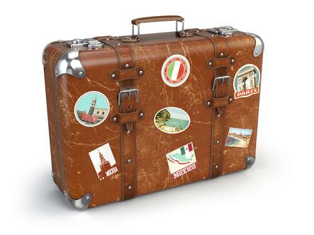 흰색 배경에 고립 된 여행 스티커와 레트로 가방 beggage. 차원 그림 스톡 콘텐츠