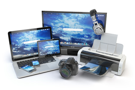 computer devices: Computer devices and office equipment. Mobile phone, monitor, laptop, printer, camera, headphones and tablet pc. 3d illustration