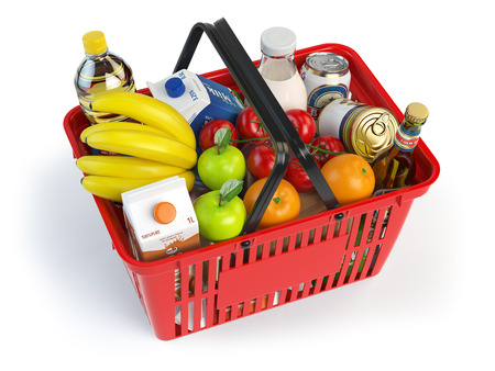 Shopping market  basket with variety of grocery products isolated on white background. 3d illustration Standard-Bild