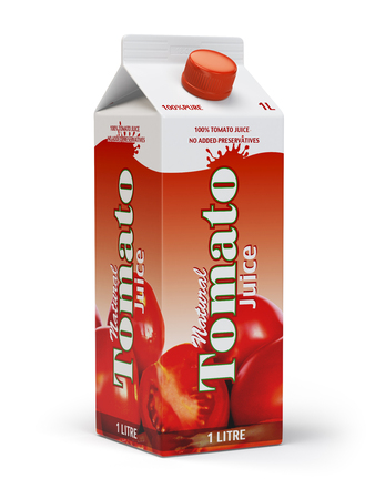 ounce: Tomato juice carton cardboard box pack isolated on white background. 3d illustartion Stock Photo