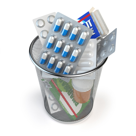 Pills, capsules and medicines thrown in the dustbin isolated on white. End of treatment or healthy lifestyle concept. 3d illustration