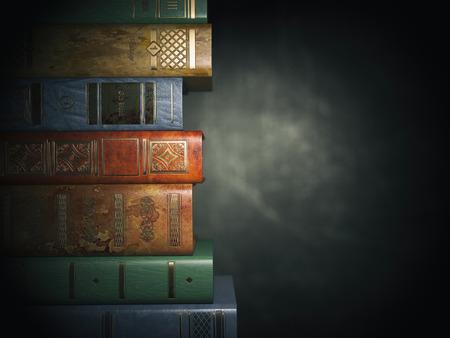 Vintage books on old  black dirty background. 3d illustration