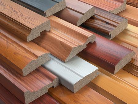 muebles de madera: Muestras de muebles de madera Perfiles de MDF, Diferentes tableros de fibras de densidad media. 3d ilustración