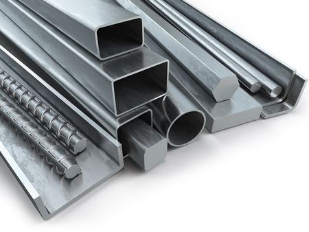 profil: Different metal products. Stainless steel profiles and tubes. 3d illustration