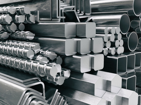 Metal profiles and tubes. Different stainless steel products. 3d illustration Zdjęcie Seryjne