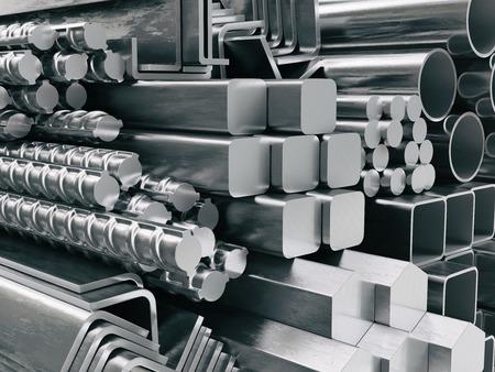 profili in metallo e tubi. Diversi prodotti in acciaio inossidabile. illustrazione 3d