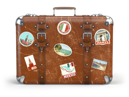 Old suitcase beggage with travel stickers isolated on white background. 3d illustration Stok Fotoğraf