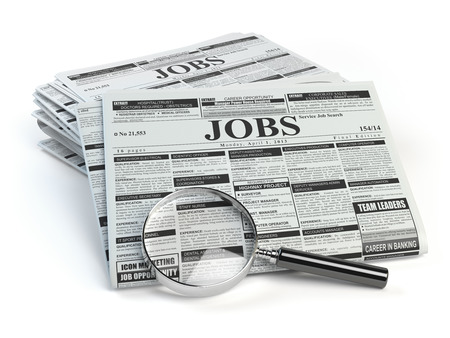 classified ads: Job search. Loupe with jobs classified ad newspapers isolated on white. 3d illustration Stock Photo