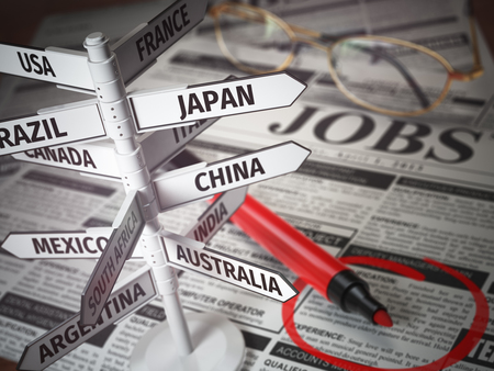 student travel: Work and travel immigration opportunity concept. Search for a job. Newspaper with jobs advertisement and signboard with names of countries. 3d illustration