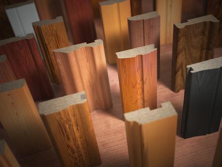 chipboard: Samples of wooden furniture MDF profiles, Different medium density fiberboards. 3d illustration