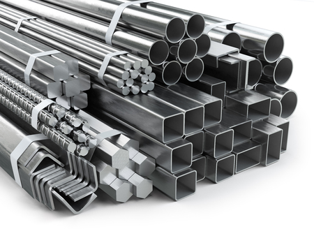 Different metal products. Stainless steel profiles and tubes. 3d illustration Stock Illustration - 74180408