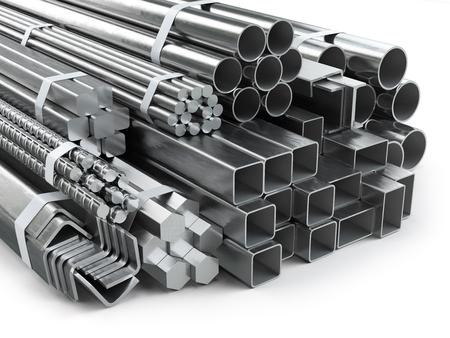 Verschillende metalen producten. RVS profielen en buizen. 3d illustratie