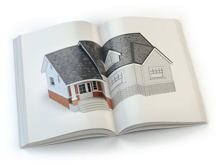 open magazine: Draft of the house. Concept of  magazine of construction, architecture and design . 3d illustration Stock Photo