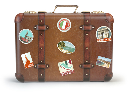 vintage voyage: Vintage suitcase with travel stickers isolated on white background. 3d illustration Banque d'images