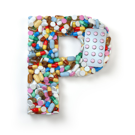 p illustration: Letter P. Set of alphabet of medicine pills, capsules, tablets and blisters isolated on white. 3d illustration