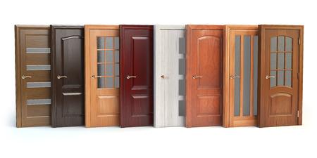 木製のドアは、白で隔離。インテリア デザインやマーケティングの概念。3 d イラストレーション 写真素材