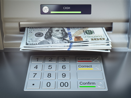 ATM machine and money. Withdrawing dollar banknotes. 3d illustration Reklamní fotografie